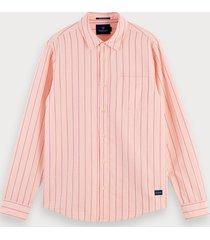 scotch & soda gestreept overhemd van katoen en linnen | regular fit