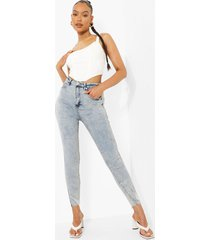 acid wash gebleekte skinny jeans met hoge taille, bleach wash