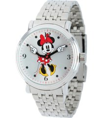 disney minnie boyfriend unisex shiny silver vintage alloy watch