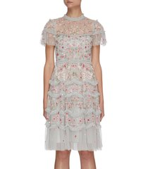 'elsie ribbon' floral embroidered ruffle tier mini dress