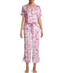 in bloom women's 2-piece tie-dye capri pajama set - blue - size s