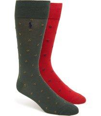 men's polo ralph lauren 2-pack foulard & paisley slack socks