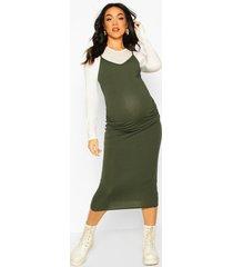 maternity 2 in 1 top and midi slip dress, khaki