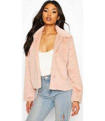 faux fur button coat, rose
