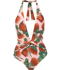 adriana degreas twisted detail swimsuit - pink