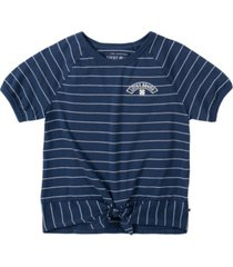 lucky brand big girl yarn dye stripe tee with front tie