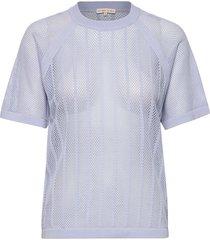 cotton mesh knit top t-shirts & tops short-sleeved blå filippa k soft sport