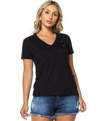 t-shirt daniela cristina gola v 07 602dc10290 preto pp - feminino