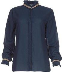 blouse met borduursels pippa  blauw