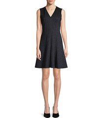 rose jacquard fit-&-flare dress