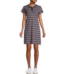 madewell women's striped henley dress - blue multi - size m