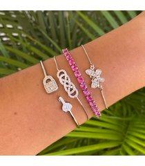 bracelete lua mia joias chave e cadeado de zircônias banho ródio