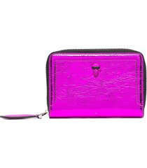 karl lagerfeld zip-up leather wallet - pink