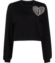 heart cutout pullover sweater black