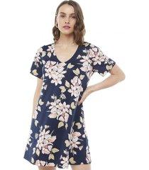 vestido cuello v azul marino flores mujer corona