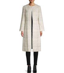 textured open-front silk-blend coat