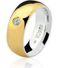 aliança mista ouro 18k e prata 925 elegance natalia joias alm-154