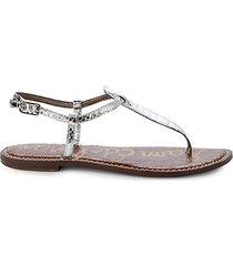 gigi embossed-snakeskin metallic thong sandals