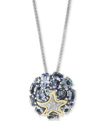"effy tanzanite (4-1/2 ct. t.w.) & diamond (1/20 ct. t.w.) 18"" pendant necklace in sterling silver and 18k gold over sterling silver"