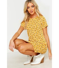 floral jersey crew neck shift dress, mustard
