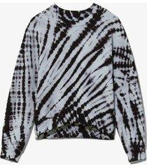 proenza schouler white label tie dye sweatshirt chambray/black/blue l