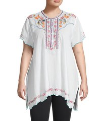 plus moji floral embroidery tunic