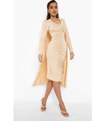 mini blouse jurk met ruches en duster jas set, caramel
