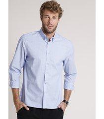 camisa social masculina tradicional listrada manga longa azul
