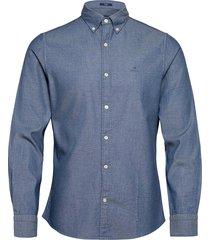 d2. tp indigo dobby slim bd overhemd casual blauw gant