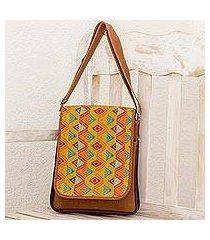 leather and cotton messenger bag, 'textile splendor' (guatemala)