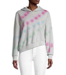 lea & viola women's asymmetric tie-dyed hoodie - heather grey - size xs