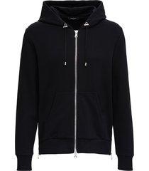 balmain back cotton hoodie with logo print