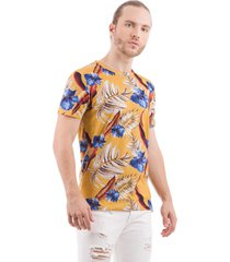 camiseta estampada floral drazzo jardim botânico amarelo