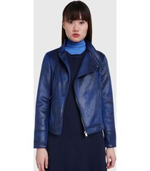 chaqueta desigual azul - calce ajustado