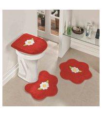 kit tapete banheiro 3 peças antiderrapante margarida folhas vermelha