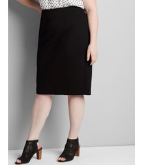 lane bryant women's ponte midi pencil skirt 12 black