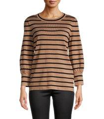 karl lagerfeld paris women's striped long-sleeve top - black white - size l