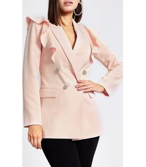 river island womens light pink frill front double breasted blazer