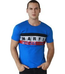 camiseta hombre manga corta marfil slim fit azul impact
