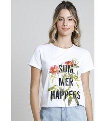 "blusa feminina ""summer happens"" floral manga curta decote redondo off white"