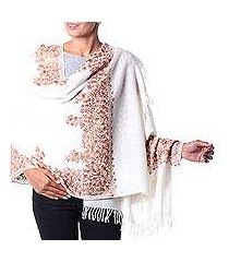 wool shawl, 'white floral drama' (india)