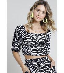 blusa feminina cropped estampada animal print zebra manga bufante decote reto preta