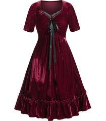 plus size retro velour lace ruffle dress