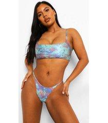 zonneprint bikini top met bandjes en laag decolleté