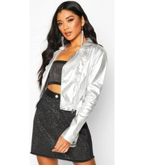 coated denim biker jacket, silver