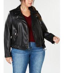 levi's plus size faux-leather belted moto jacket
