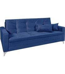 sofá cama 3 lugares facility reclinável império estofados azul marinho