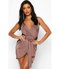 bodycon-jurk in wikkelstijl met riem, chocolade