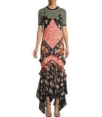 floral ruffle silk slip dress
