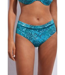 calzedonia high-waisted bottoms swimsuit mauritius woman blue size 6